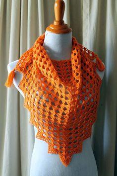 "Pretty Triangle Shawl-Cascade Heritage sock yarn in ""Mango"" and an ""F"" hook"