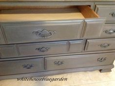 Classic maple dresser/buffet in Driftwood with drawers lined in fun paper.
