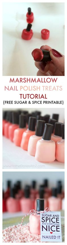So cute! Marshmallow nail polish treats with FREE printable.