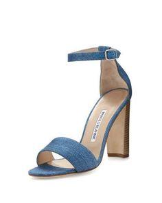 X36L8 Manolo Blahnik Lauratopri Ankle-Wrap 105mm Sandal, Light Blue Jeans