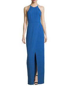 Halston Heritage Cutout Evening Gown w/ Smocking Detail | Neiman Marcus