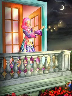 Muslimische Prinzessin am Balkon (Zeichnung) Muslim princess on the balcony (drawing) Ramadan Images, Mubarak Ramadan, Islamic Cartoon, Anime Muslim, Hijab Cartoon, Islamic Girl, Flower Phone Wallpaper, Girly Pictures, Digital Art Girl