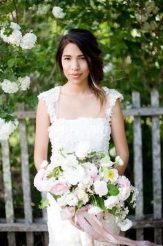 Countryside Serenbe Wedding Bhldn Wedding Dress Pink Bouquet: #bouquet #elegant: www.brookeboling.com