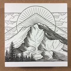 Here's the final one of my Cascades series! Mt. Shasta, California  #art #drawing #sketch #pen #pendrawing #mountains #mountainart #cascades #california