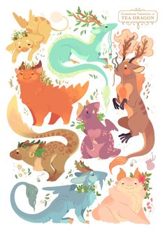 """strangelykatie: """" I finally made a proper print of my Tea Dragon varieties! I'm still missing a lot of favourites, I'll draw all of them eventually :) If you like, you can purchase this on INPRNT """""""
