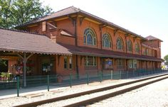 The Rock Island Depot and Freight House,Peoria, Illinois.  A two-story railroad station and adjacent one-story freight house constructed in 1899 directly next to the Illinois River,