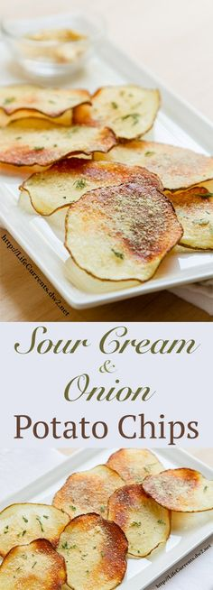 {How To Make} DIY Sour Cream and Onion Potato Chips recipe. Homemade potato chi… {How To Make} DIY Sour Cream and Onion Potato Chips recipe. Healthy Party Snacks, Healthy Appetizers, Appetizer Recipes, Snack Recipes, Cooking Recipes, Healthy Recipes, Party Appetizers, Healthy Dips, Snacks Ideas