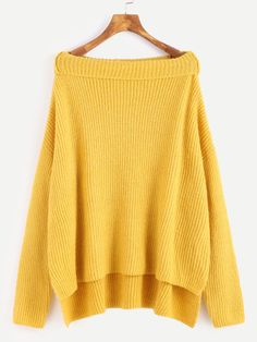 Yellow Fold Boat Neck Drop Shoulder High Low Slit Sweater