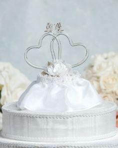 Satin Rose Hearts Wedding Cake Topper