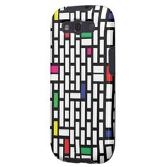 Modern Black and White Color Rectangles pattern Samsung Galaxy SIII Cases