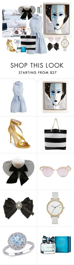 """морское рандеву"" by ludmilakorolko ❤ liked on Polyvore featuring Milly, Imagine by Vince Camuto, Le Specs, Cara, Skagen, Modern Bride, Tommy Hilfiger and Maybelline"