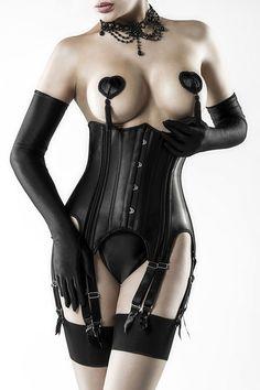 Corsage brustfrei schwarz Set mit Schnürung hinten
