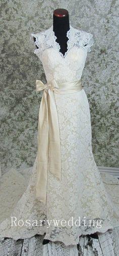 Champagne lining ivory lace wedding dress by Rosaryweddingdress, $365.00