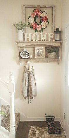 Small entryway spring flowers country white farmhouse style #DIYHomeDecorFarmhouseStyle