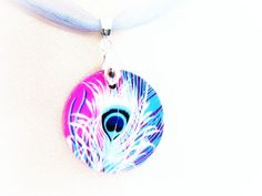 Peacock feather pendant necklace wood peacock by GattyGatty, $9.00