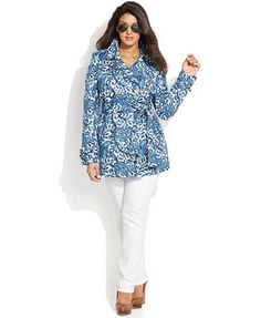Apparently I'm already thinking about Spring trenches! MICHAEL Michael Kors Plus Size Paisley-Print Trench Coat & Skinny Jeans