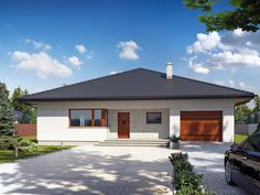 Wizualizacja TP Irysek 2 CE Modern Family House, Bungalow House Design, Concept Home, Modern Exterior, Pool Houses, Stained Glass Windows, Home Goods, House Plans, Sweet Home