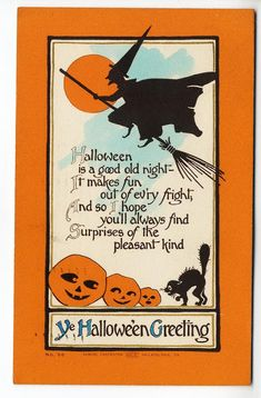 A collection of vintage Halloween postcards. Retro Halloween, Spooky Halloween, Halloween Kunst, Vintage Halloween Cards, Halloween Poems, Halloween Artwork, Halloween Greetings, Halloween Prints, Halloween Signs