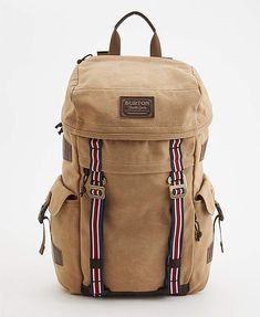 Burton x Jack Threads Annex Pack  Online clothier Jack Threads teamed up with Burton snowboards for the creation of this vintage-inspired daypack. The top-loading Annex pack is made of water-resistant canvas & features internal laptop & tablet compartments as well as a pair of exterior pockets & padded shoulder straps.
