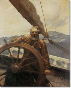 The Rakish Brigantine - Sea Captain in Storm by N.C. Wyeth