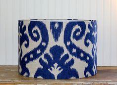 Indigo Blue Ikat Drum Lampshade by Sassyshades on Etsy