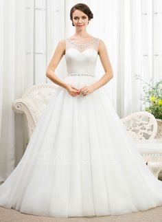 Ball-Gown Scoop Neck Court Train Beading Sequins Zipper Up Regular Straps Sleeveless Church General Plus No Spring Summer Fall Ivory Tulle Wedding Dress