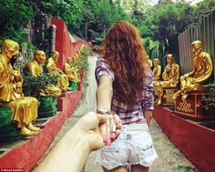 I will follow you to the ends of the earth! Cute!  Boyfriend takes pictures of girlfriend leading him around the world. @Heidi Yttri