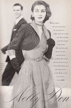 1950s, taffeta rayon dress and jacket for the holidays and into ...