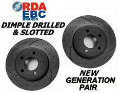DIMPLED SLOTTED FRONT DISC BRAKE ROTORS EBC PADS for Nissan Skyline R34 GTT