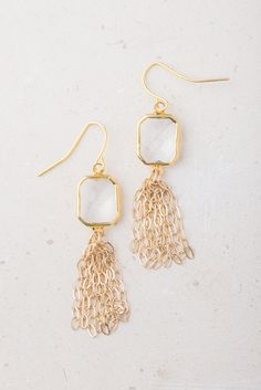 Gala; White Crystal & gold earrings,$36.99 Buy Fair Trade and help restore hope to exploited women in Asia