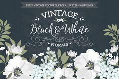 Vintage Black & White Florals by Glanz Graphics on Creative Market