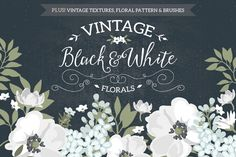 Vintage Black & White Florals by Glanz Graphics on Creative Market