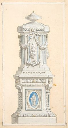Design for an ornamented stone pedastal surmounted by an urn Jules-Edmond-Charles Lachaise,  French