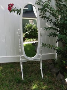 Shabby Cheval Floor Mirror with great character! Painted in my Cottage White and distressed. Waxed to protect. This is a full length mirror