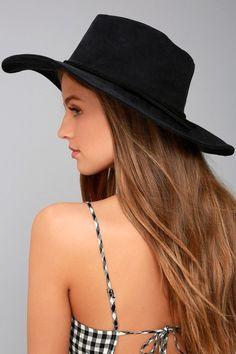 Vivi Black Suede Floppy Hat