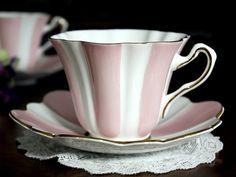 Queens Striped Tea Cups & Saucers, 2 Matching Vintage Teacups, Pink Paneled Bone China 14076 #vintageteacups