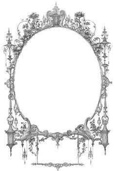 dessins à imprimer style shabby: cadre fioritures filigrane