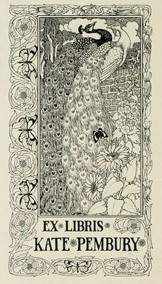 ≡ Bookplate Estate ≡ vintage ex libris labels︱artful book plates - peacock