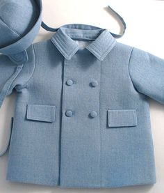 Pale Blue Wool Flannel Baby Boy's Coat and Hat