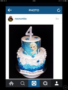 Frozen frills in blue cake