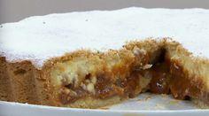 Torta de ricota, dulce de leche y tropezones de nuez