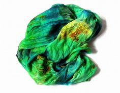 OOAK Silk Scarf  ruffled Hand Dyed Grassgreen  Blue by Econicashop