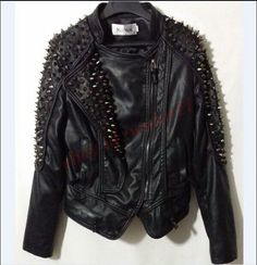 Women Punk Cool Spike Studded Vogue Genuine Leather Cropped Jacket Coat Ch