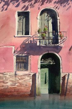 .~Andy Shore WATERCOLOUR Venice Doorway.~