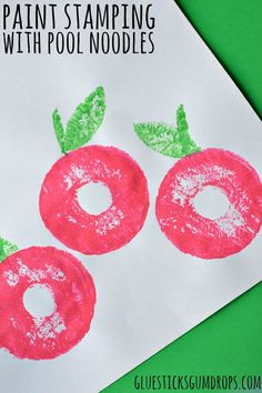 Apple craft - paint stamping with pool noodles: Apple craft - paint stamping with pool noodles