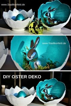 ☀Unbeauftragte Werbung☀SELBSTGEMACHTE OSTER DEKORATION This Easter and spring decoration is made fast and easy. Spring Decoration, Decoration Gris, Diy Easter Decorations, Decoration Table, Easter Centerpiece, Thanksgiving Decorations, Easter Art, Easter Crafts, Bunny Crafts