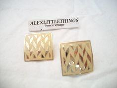 vintage beige square shaped enamel earrings by ALEXLITTLETHINGS, $6.20