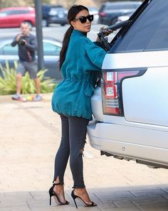 Kim Kardashian wearing J Brand Photo Ready Cropped Mid Rise in Mercy f195922edf3d