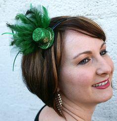 St. Patrick's Day Hat Mini Hair Fascinator Clip Hairband Comb Emerald Green Irish Leprechaun Kiss Party Accessory FREE SHIPPING