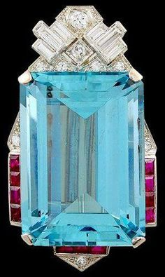 Art Déco Aquamarine, Diamond, Ruby, and Platinum Brooch by Cartier